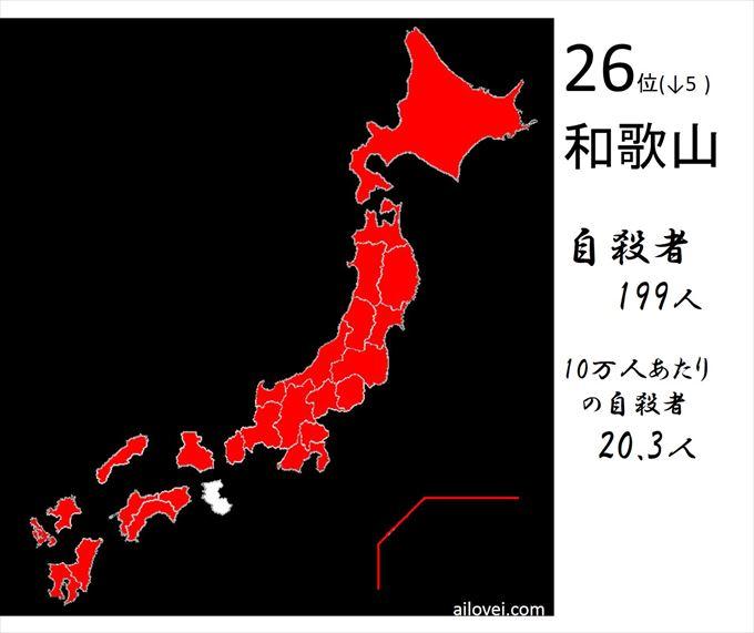 自殺者数和歌山県26位