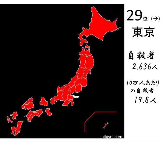 自殺者数東京都29位