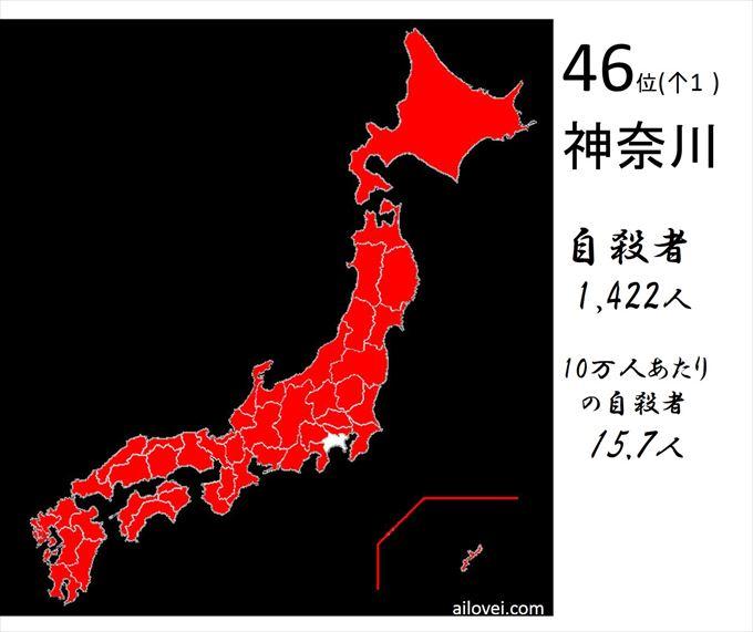 自殺者数神奈川県46位