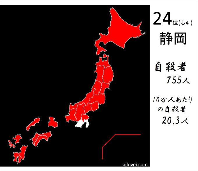 自殺者数静岡県24位